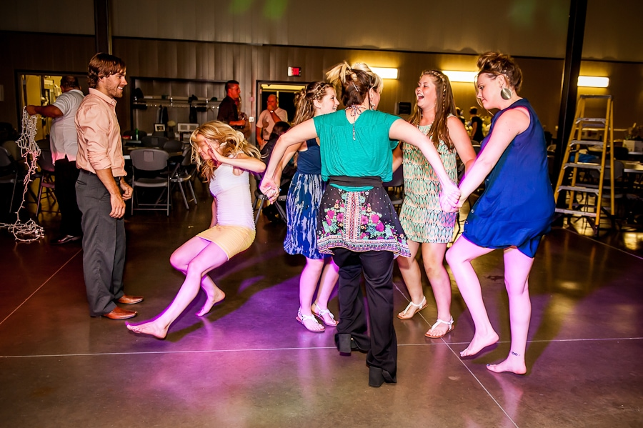 Wedding guests getting wild on the dance floor