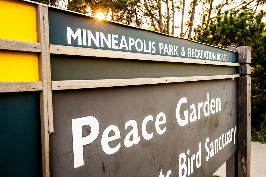 minneapilus park & recreation board sign for the Lyndale Park Peace Garden and Bird Sanctuary