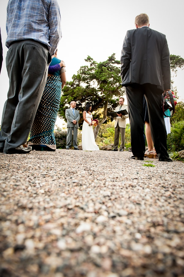 Low angle view during the wedding ceremony