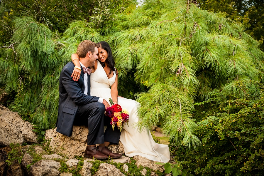 bride and groom sitting together under the branches of a soft pine tree