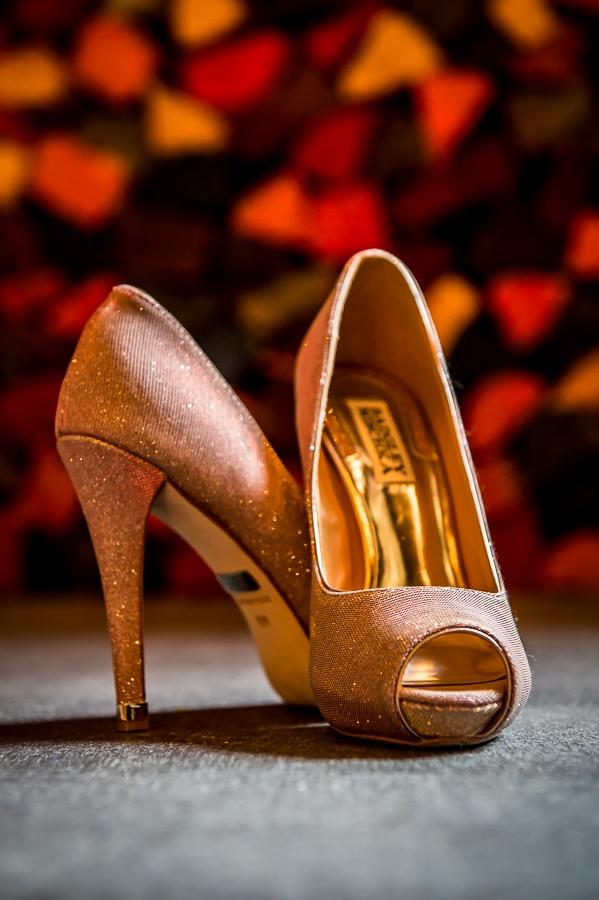 Unique detail shot of the brides' shoes