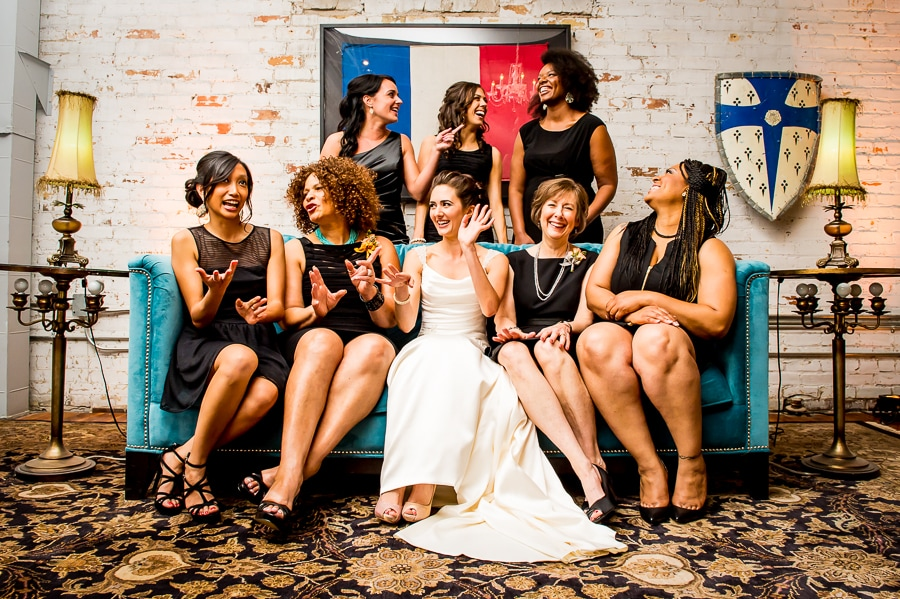 Bridesmaids share a laugh in one of the colorful upstairs rooms at Aria in Minneapolis