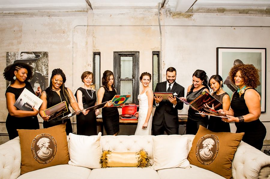 Wedding party picks out records to play