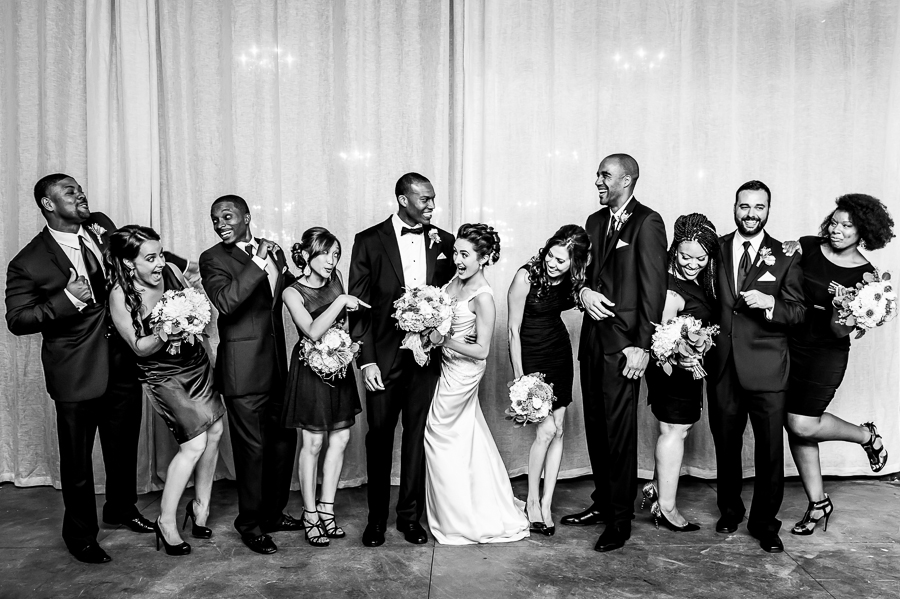 Bridal party posing with flair