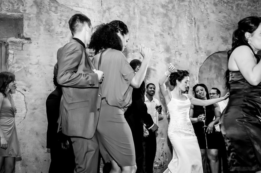 bride dances like no one is watching on the dance floor at Aria