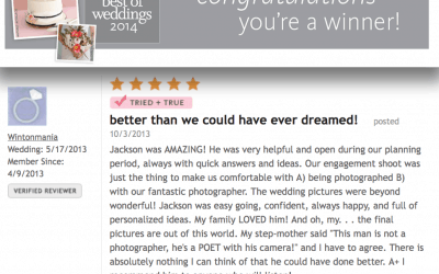 """The Knot """"Best of Weddings"""" Award 2014"""