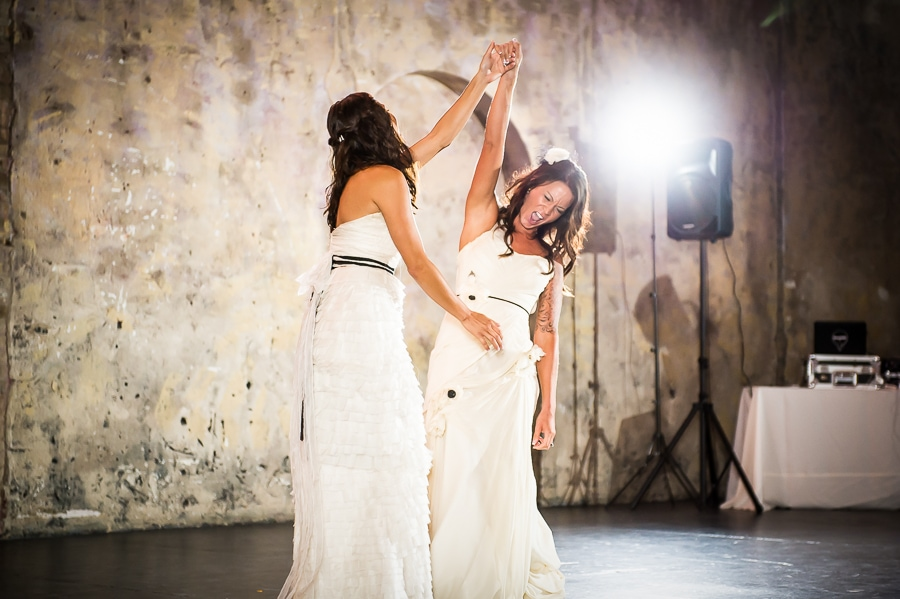 Two brides celebrate their first dance at their same sex Aria wedding in Minneapolis