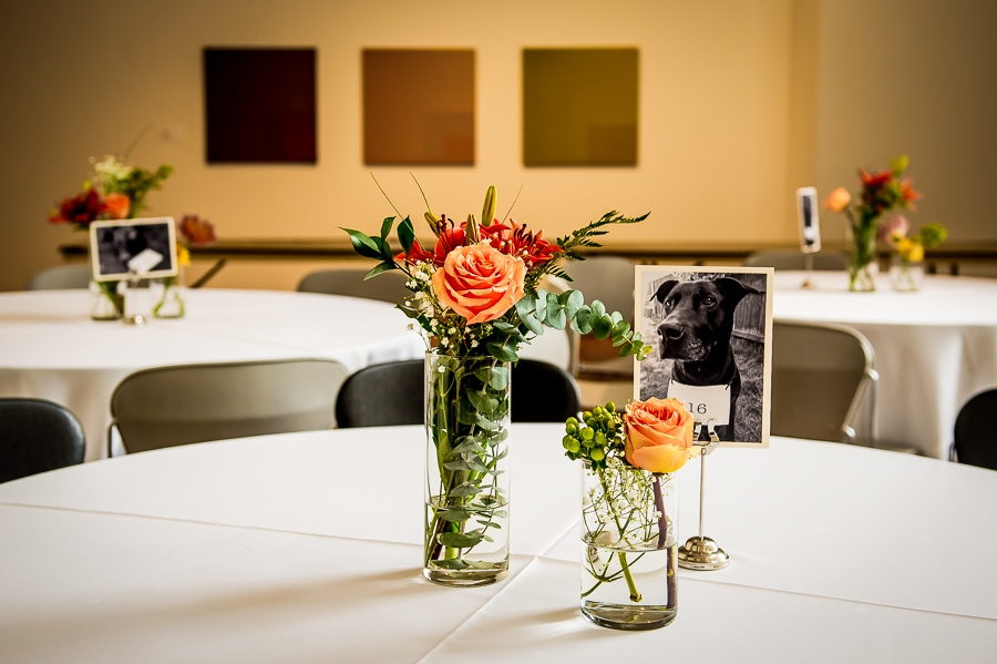 detail shot of the table settings for a Weisman Art Museum wedding