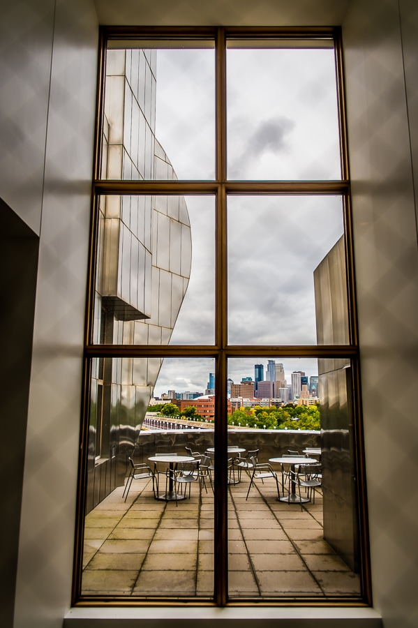 beautiful window view from the Weisman Art Museum with Downtown Minneapolis in the background