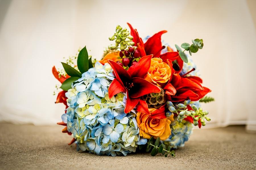 Brides wedding bouquet of flowers