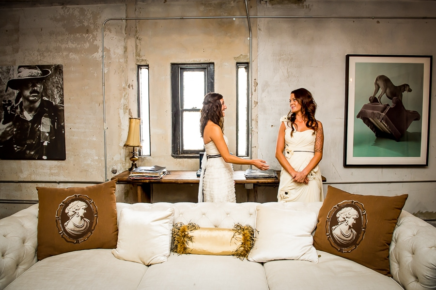The brides see each other in a tender first look moment