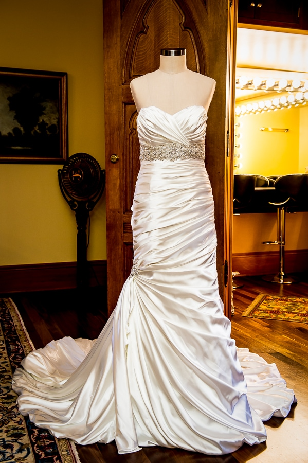 Wedding dress on mannequin in the bridal suite at the Van Dusen Mansion