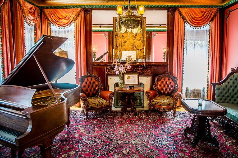 Colorful piano room at the Van Dusen Mansion