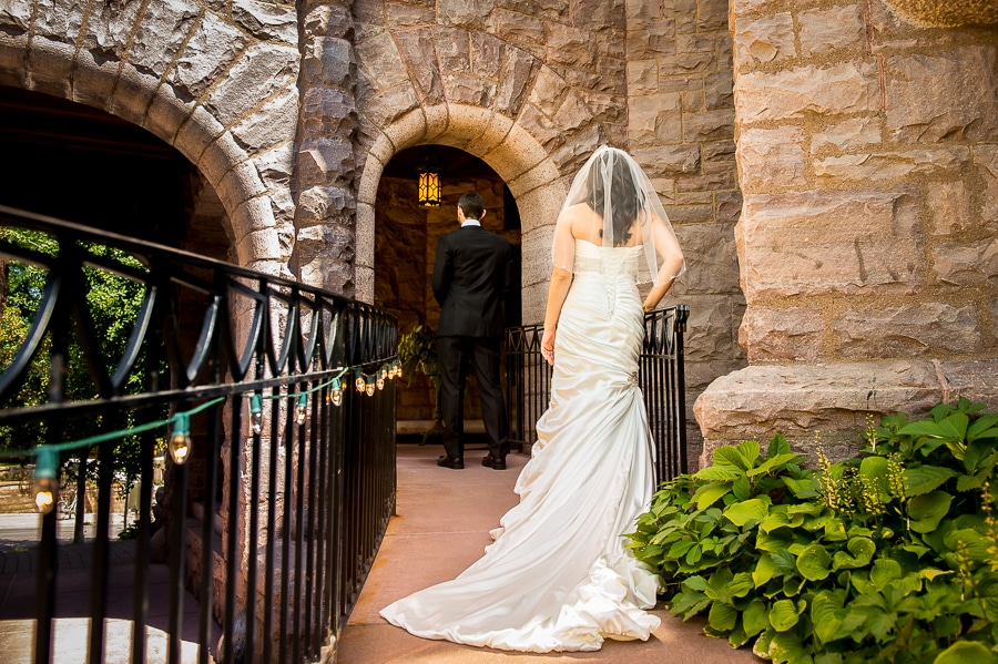 First look between the bride & groom outside of the Van Dusen Mansion
