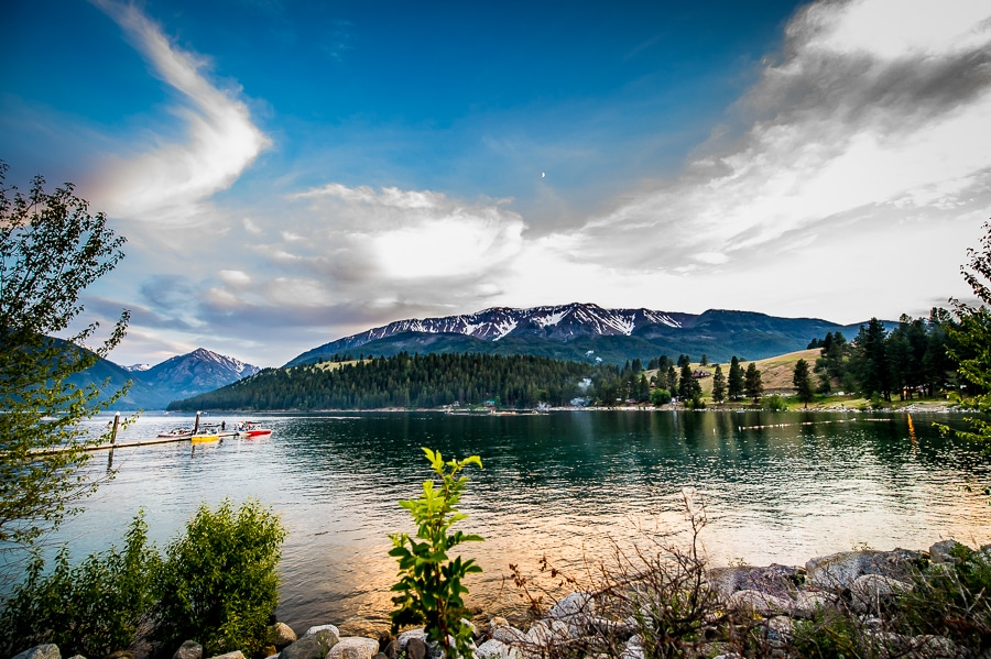 Wide angle image of Wallowa Lake with the Wallowa Mountains in the background
