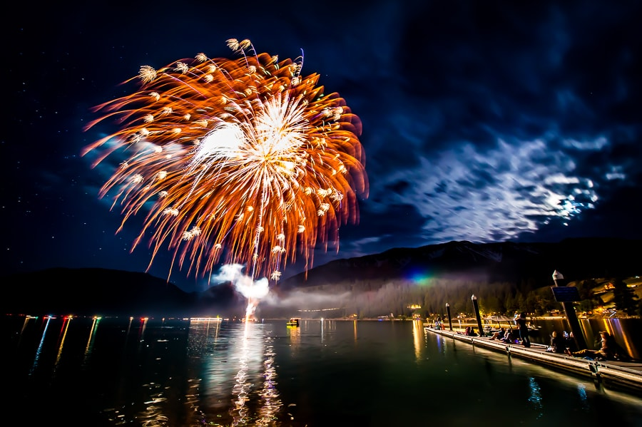 4th of July fireworks over Wallowa Lake