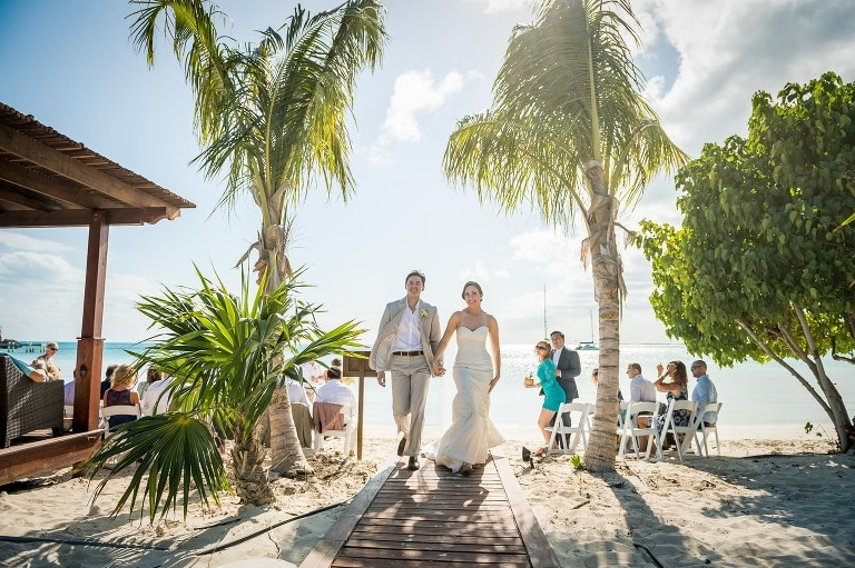 A couple right after they were married during their destination wedding in Turks & Caicos