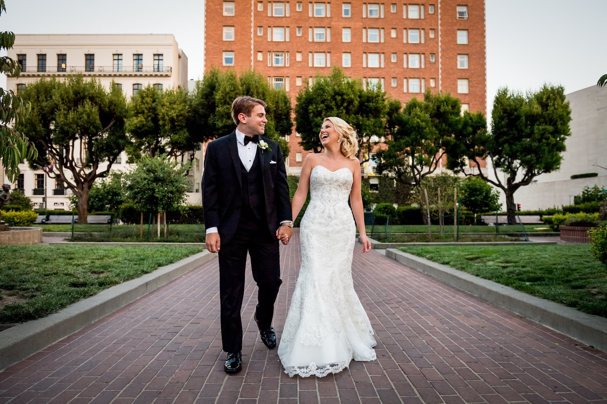bride and groom after wedding in san francisco