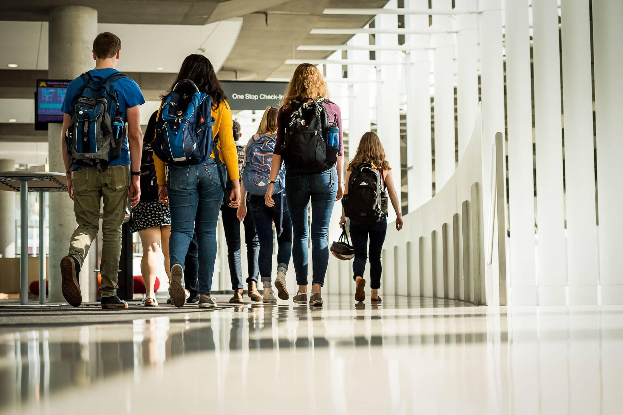University of Minnesota Biology Students walking between classes