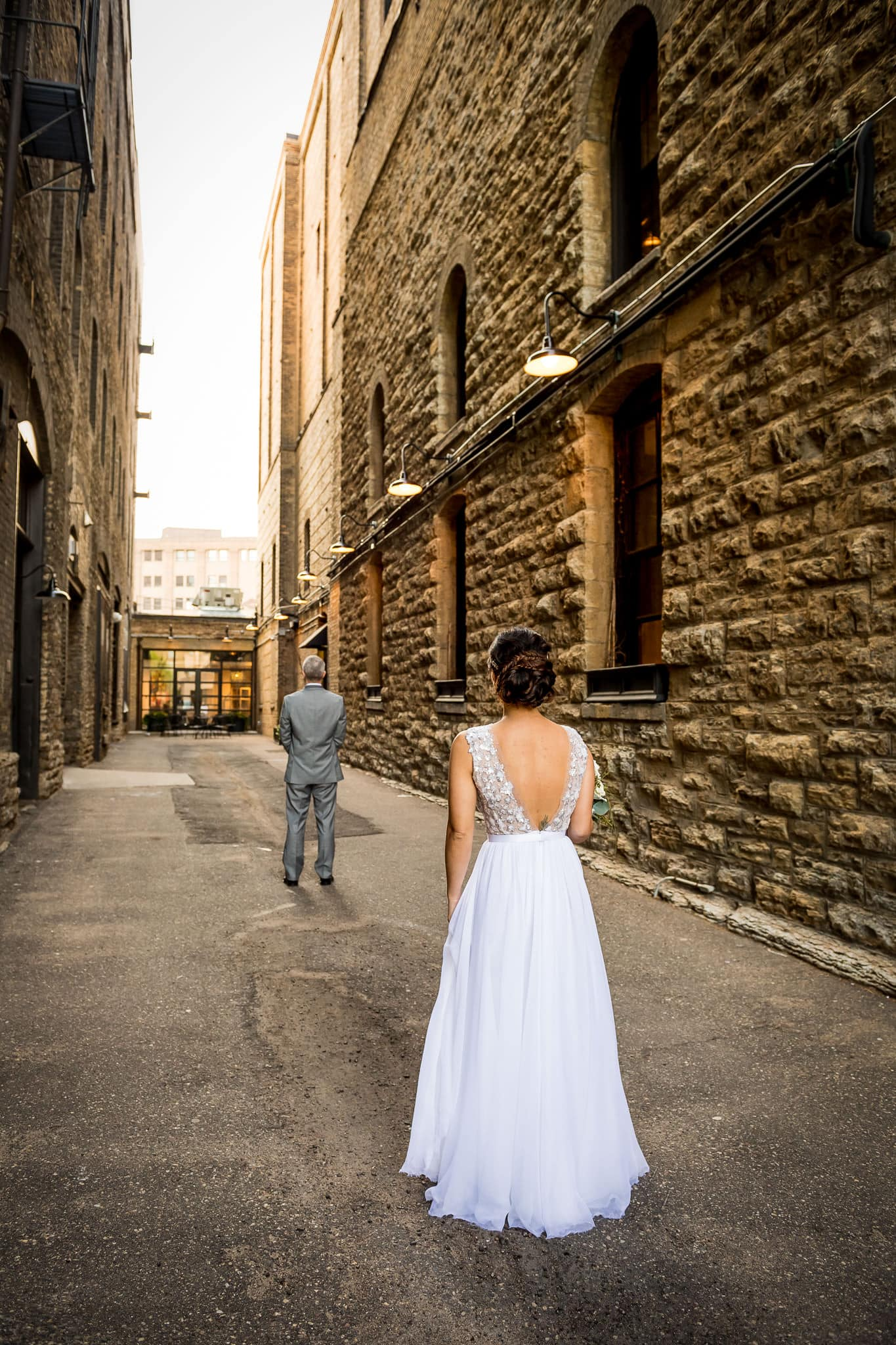 Bride and Groom First Look at Hewing Hotel
