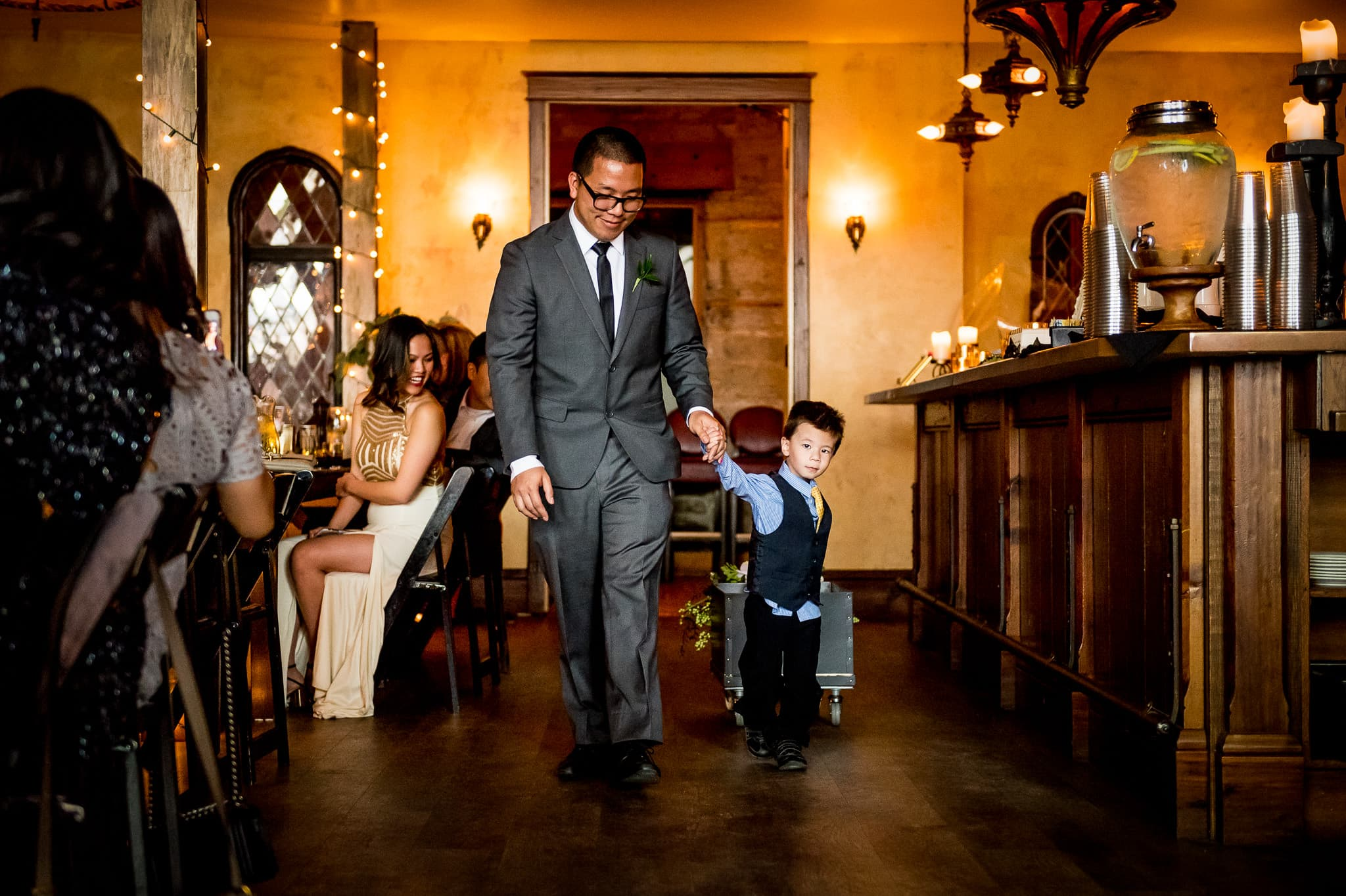 Aster Cafe wedding Photo of child and dog walking down the aisle 1