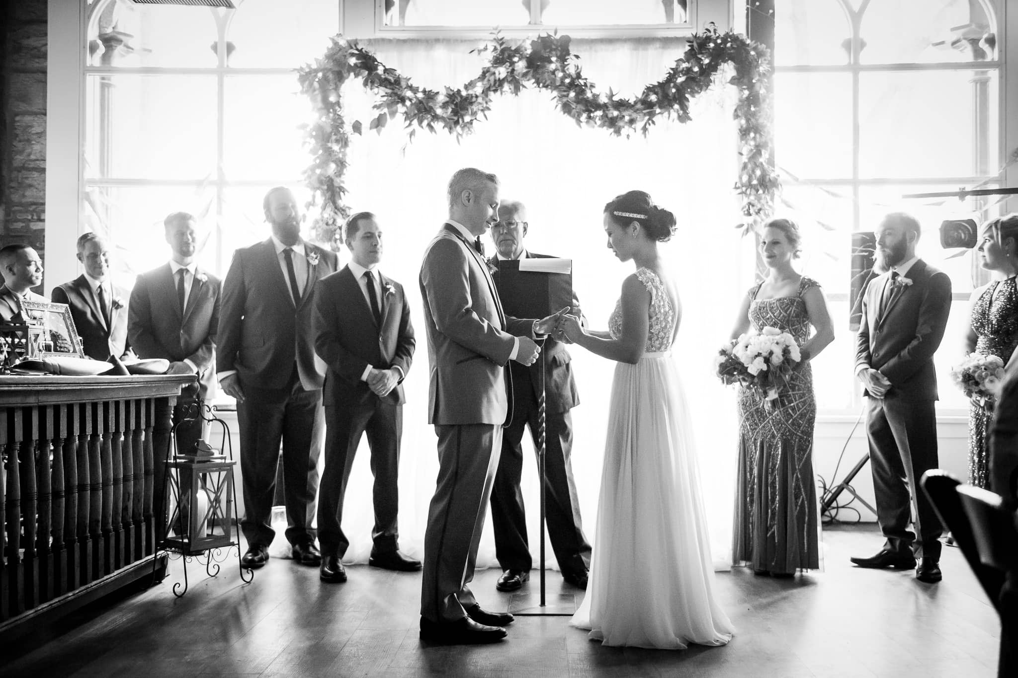 Wedding Ring Ceremony in the River Room at Aster Cafe