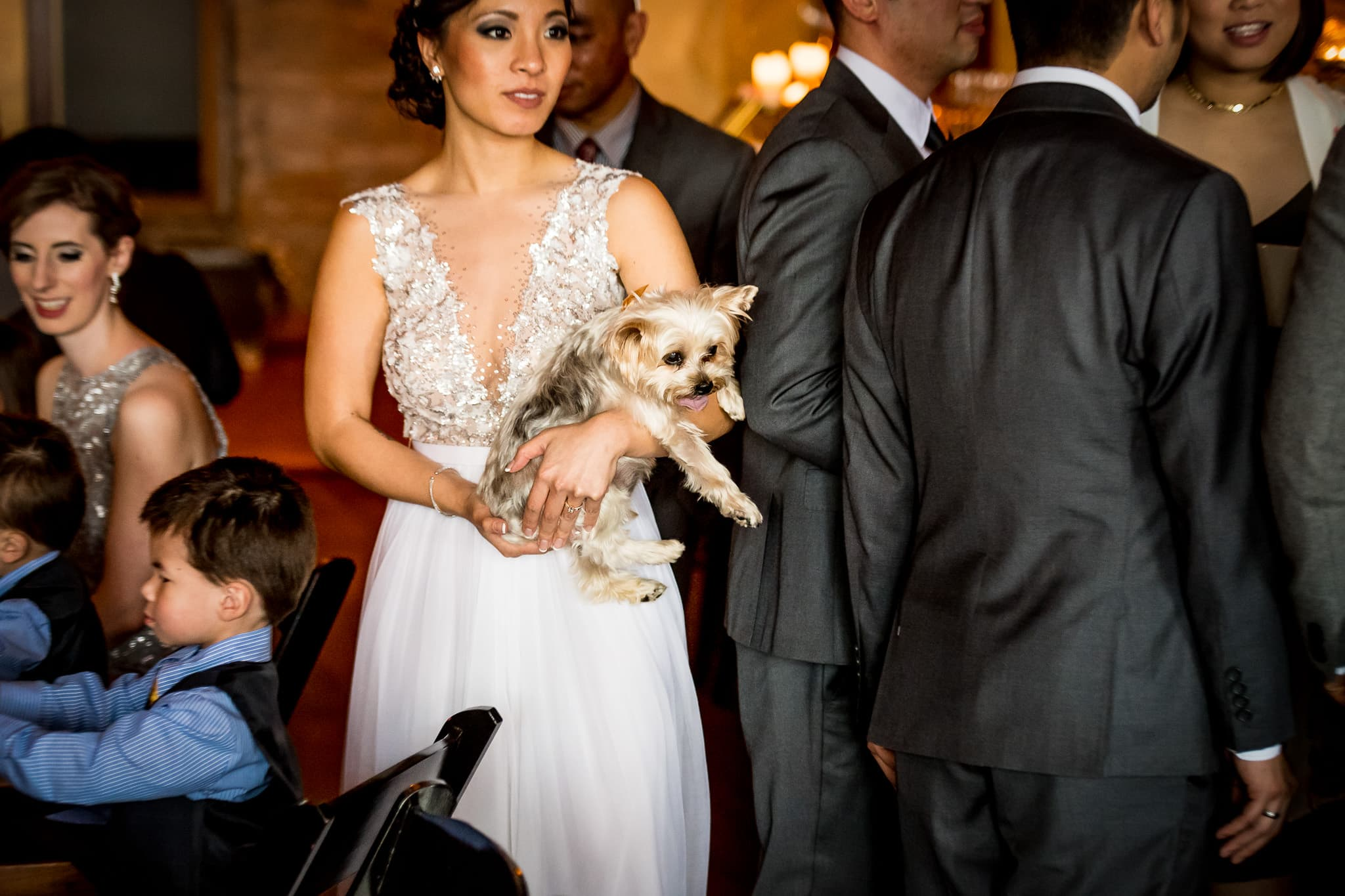Bride with her dog during the wedding reception at Aster Cafe 1