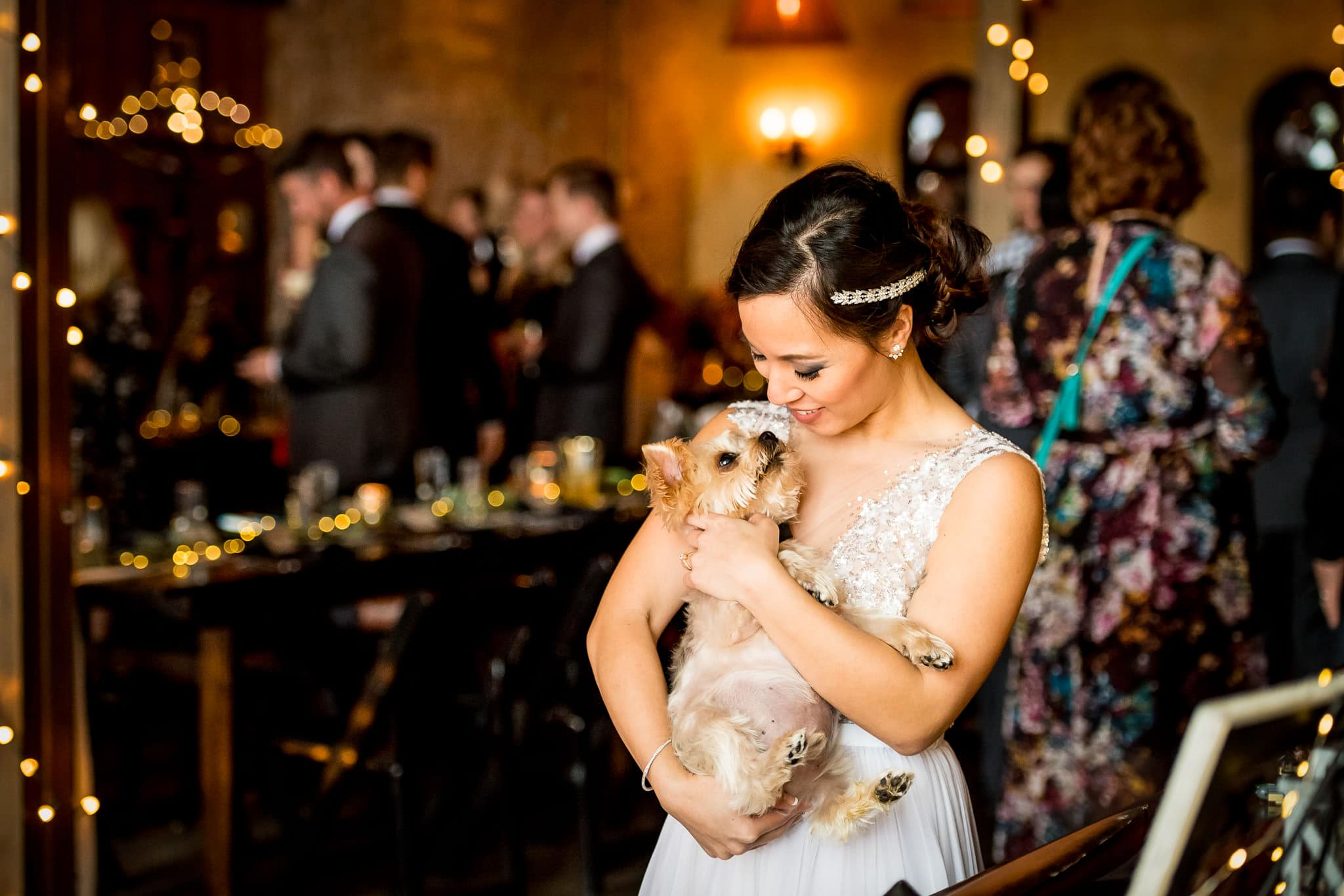 Bride and her dog sharing a beautiful moment during the wedding reception at Aster Cafe