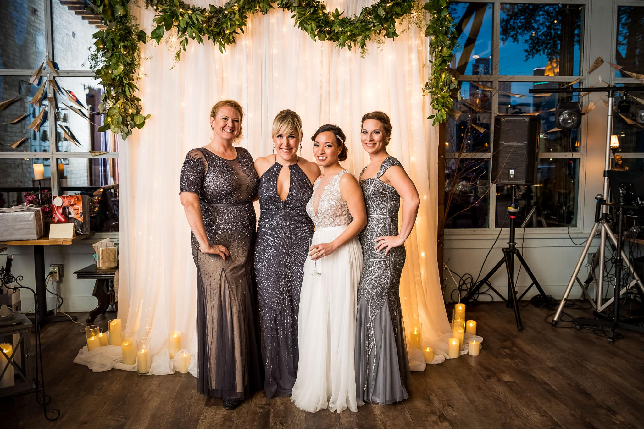 Aster Cafe Wedding Photos Alter Shot with Bridesmaids