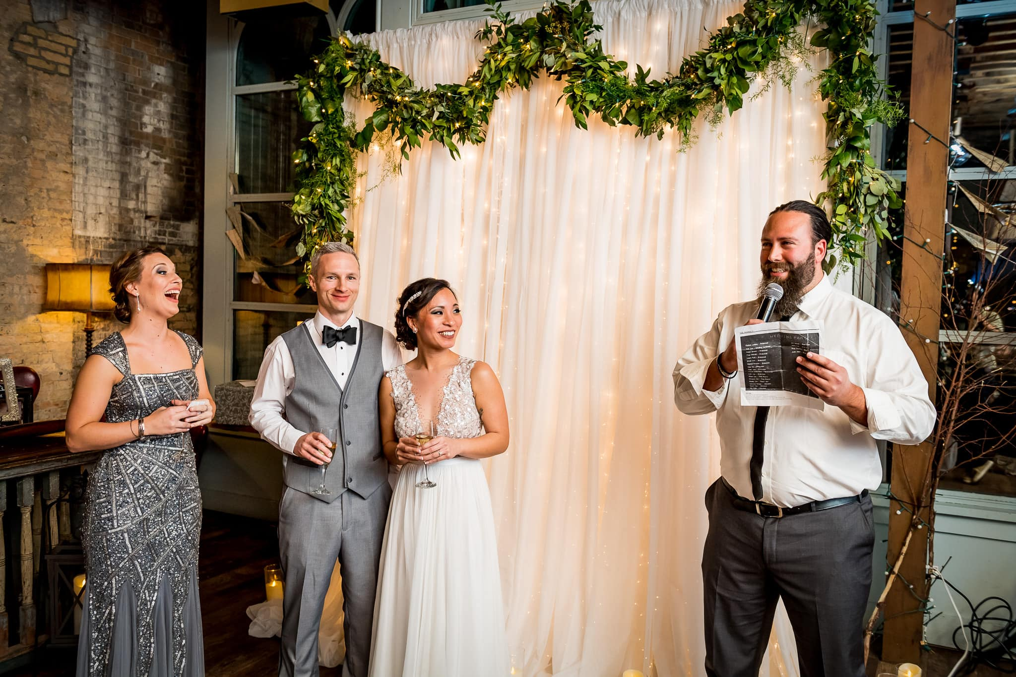 Best Man speech in the River Room at Aster Cafe during the Wedding Reception