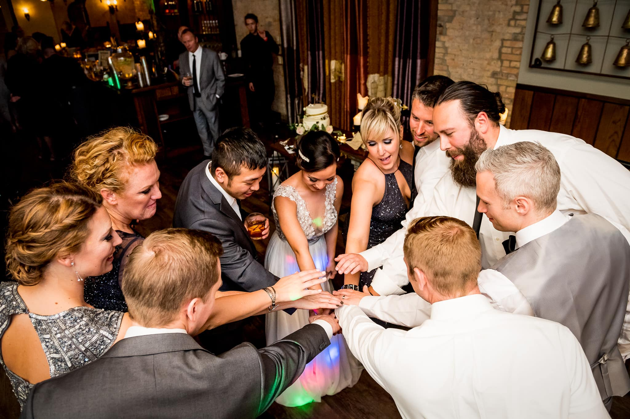 Wedding party breakdown on the dance floor in the River Room at Aster Cafe during the wedding reception 2