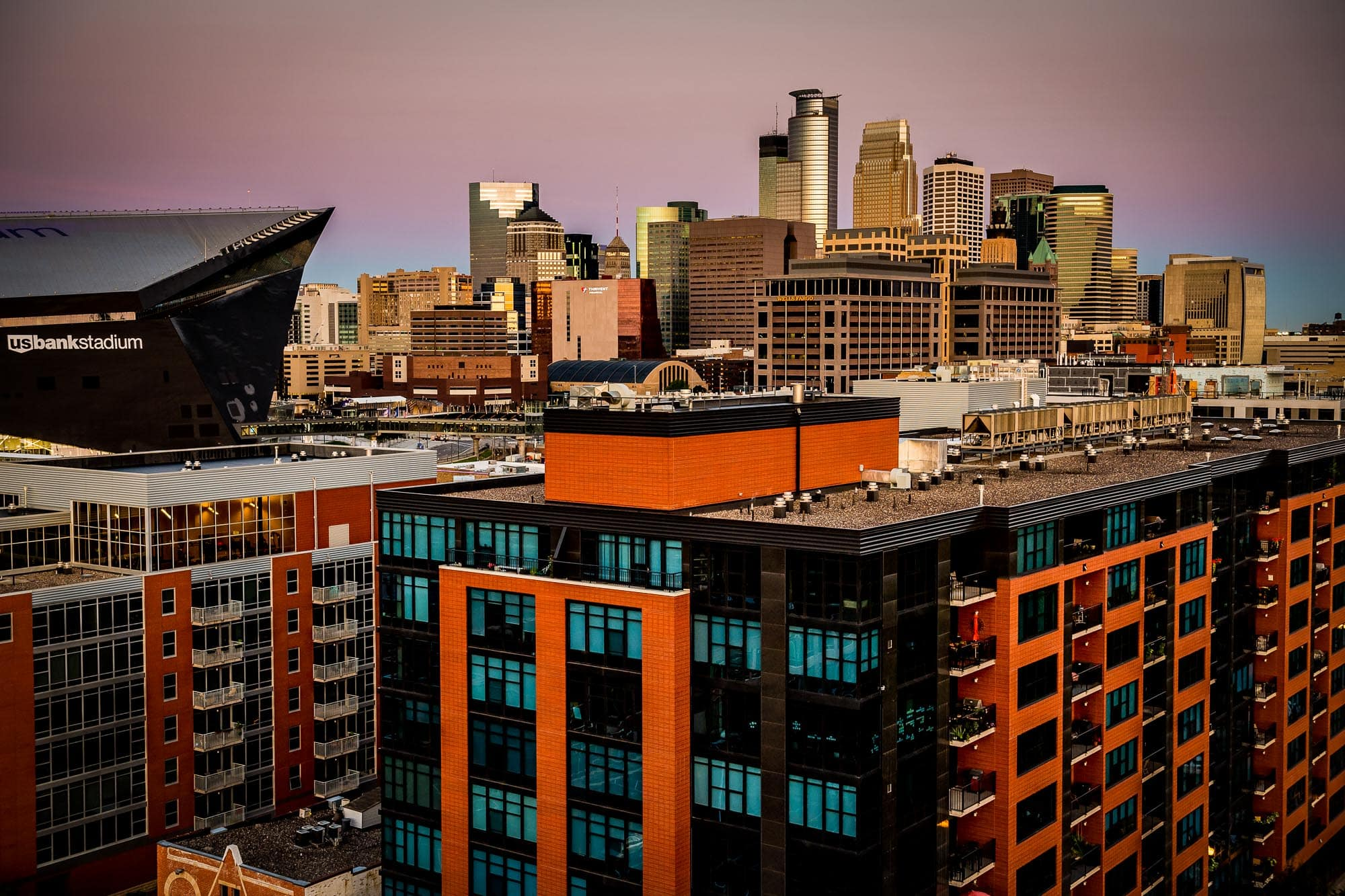 Commercial photo from the roof of Stonebridge Condos overlooking downtown Minneapolis