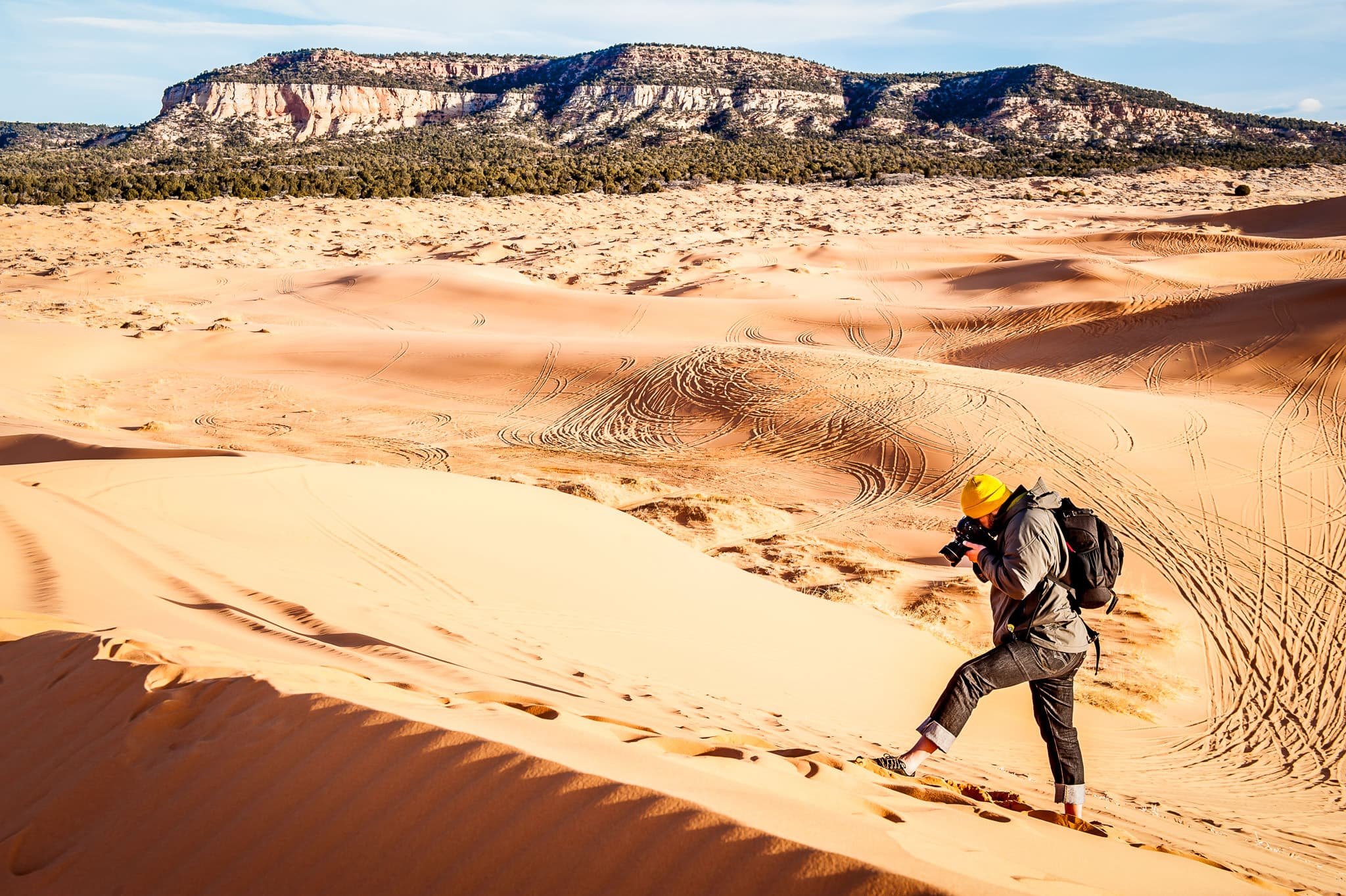 Minneapolis Commercial Photographer shoots photographs in the Coral Pink Sand Dunes in Utah