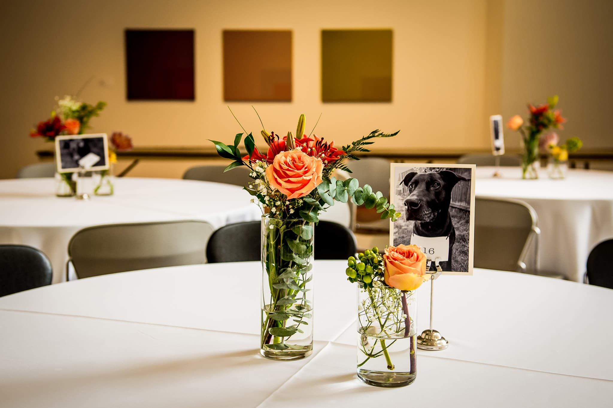 Detail shot of unique table settings at a Weisman Art Museum wedding