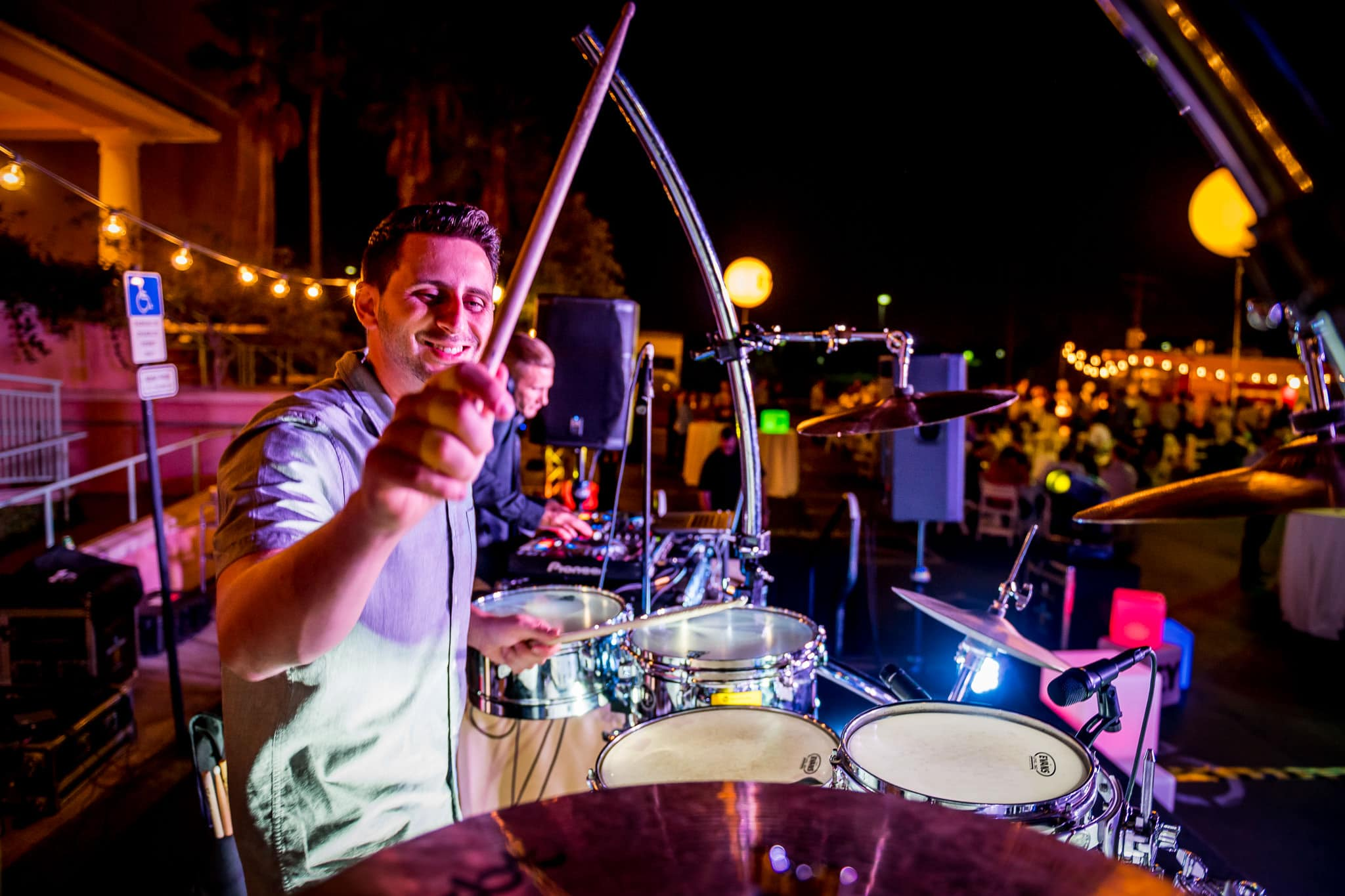 Close up of a drummer in action at the Food Truck party during an annual EY corporate event