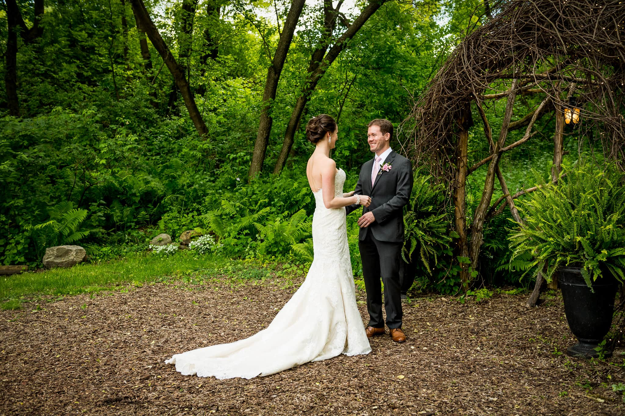 Moments after Bride & Groom's first look in the Fairy Glen at Camrose Hill Flower Farm