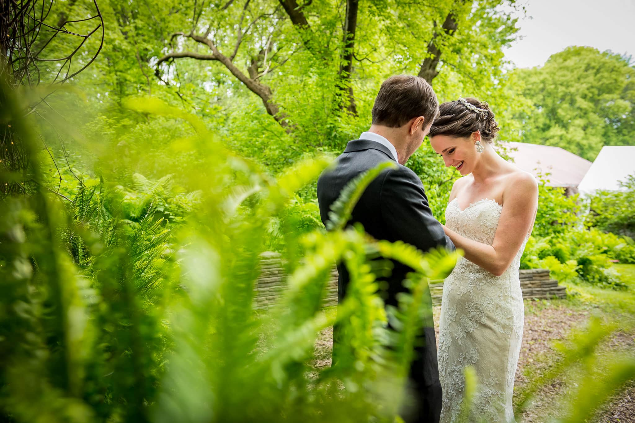 Photo of bride and groom shot through the thick ferns inside Camrose Hill Flower Farm's Fairy Glen outdoor space