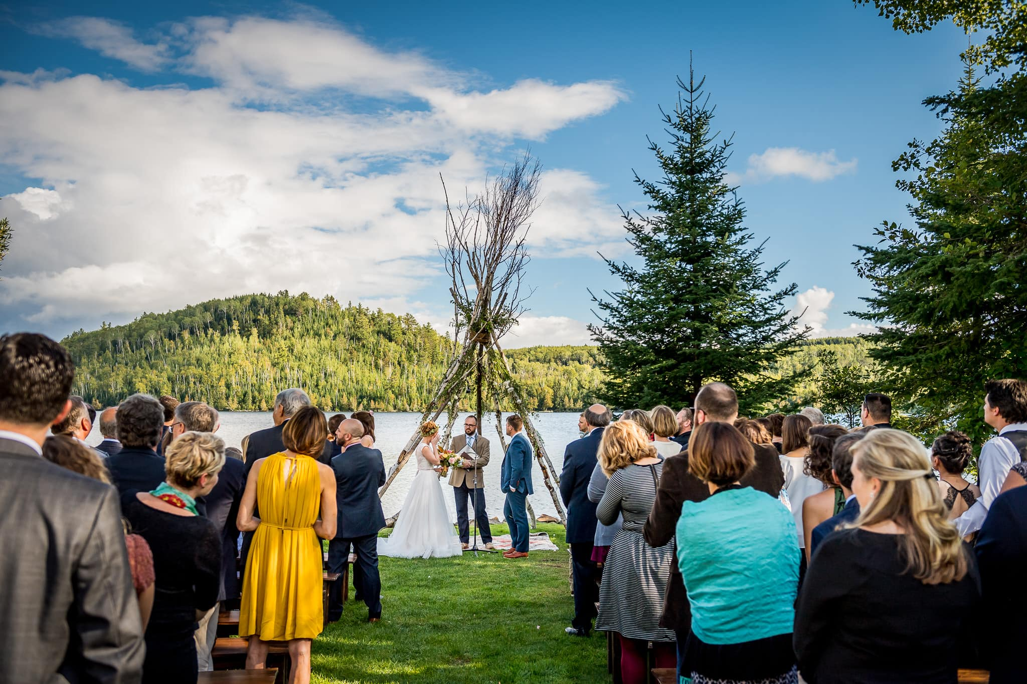 Wide angle view of wedding ceremony on Hungry Jack Lake