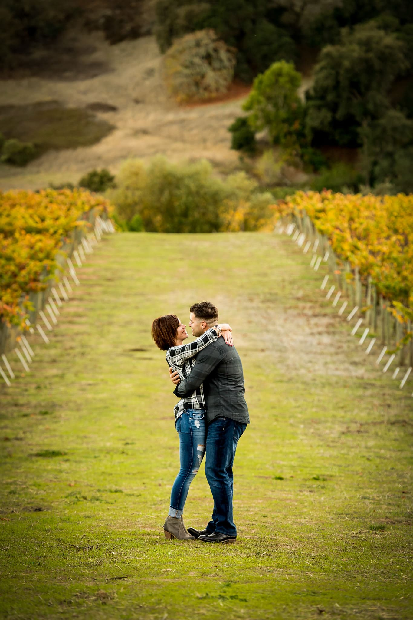 An engaged couple embraces amongst colorful rows of grapes at Artesa Winery's Vineyard in Napa Valley