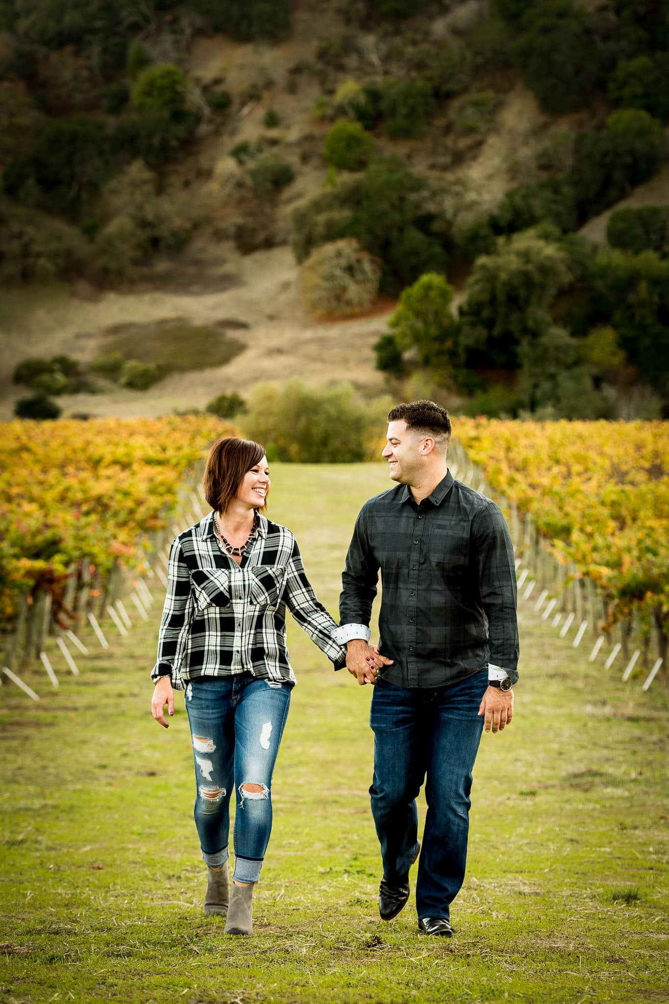 Close up of engaged couple smiling and walking amongst colorful rows of grapes at Artesa Winery's Vineyard in Napa Valley