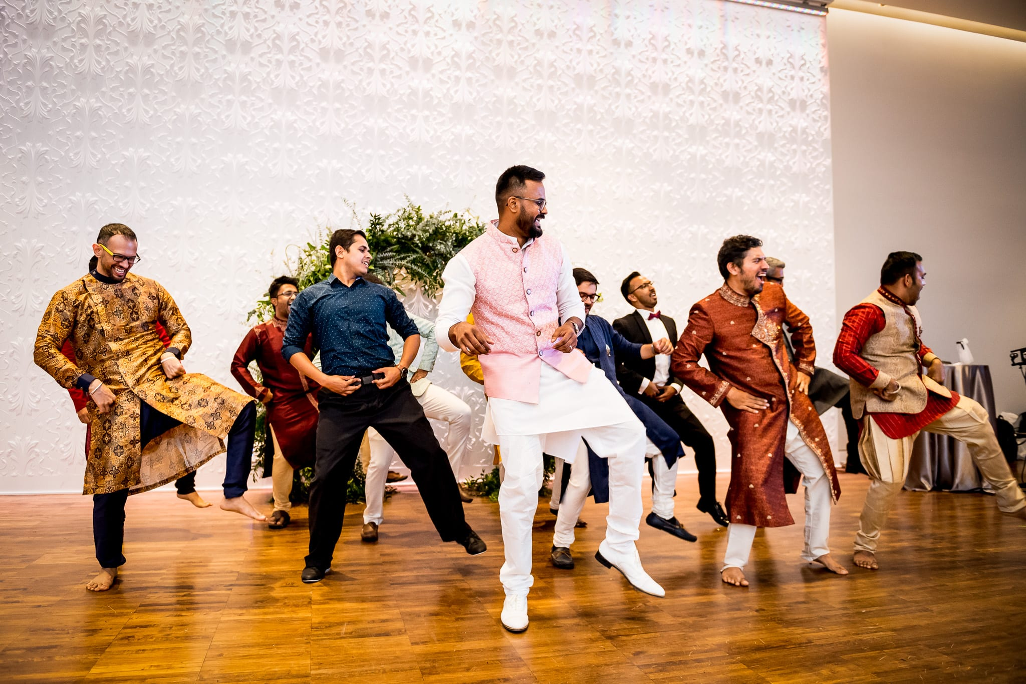 Groom and his groomsmen perform a choreographed dance at The Blaisdell