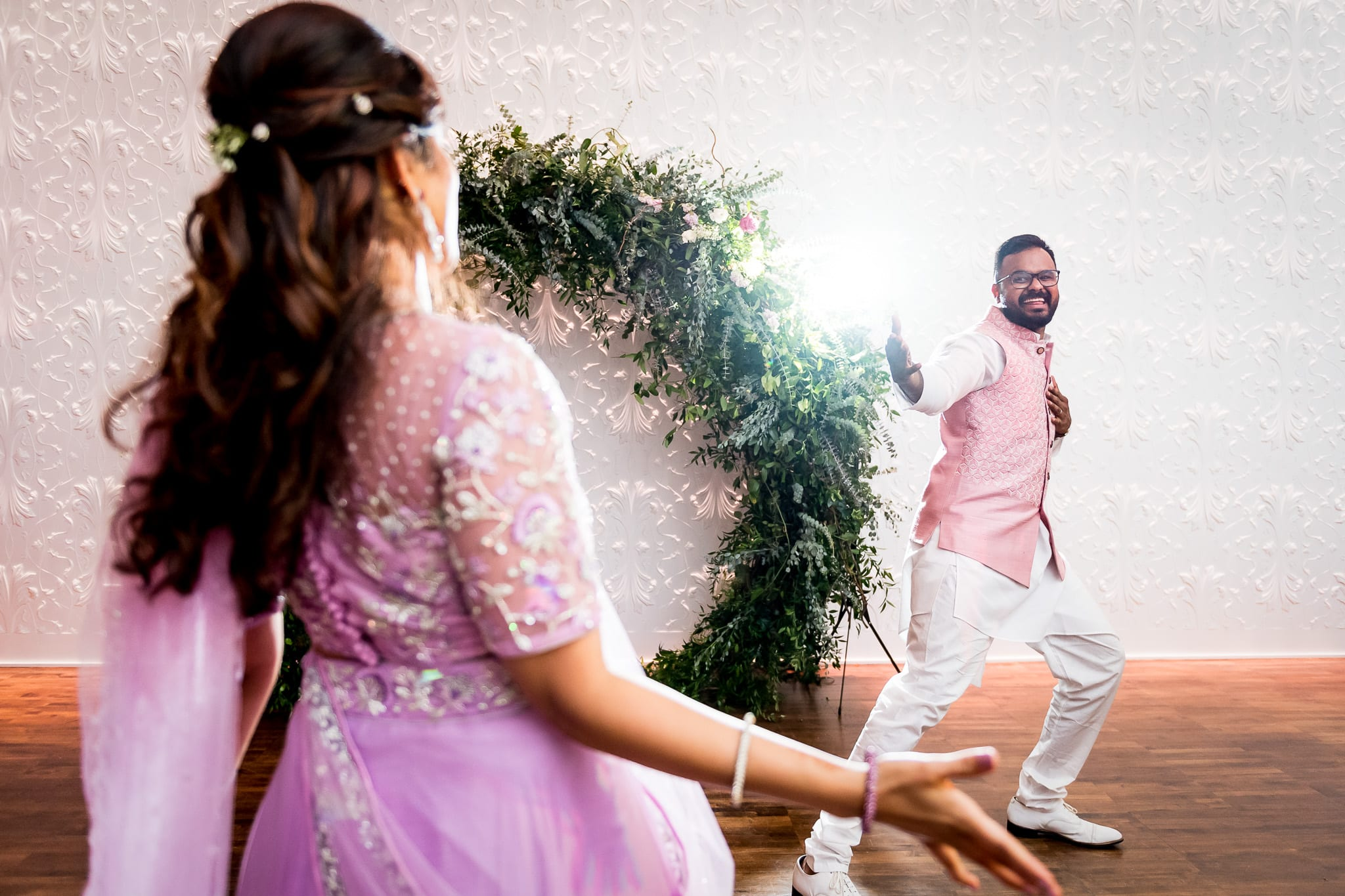 Bride and groom passionately dancing