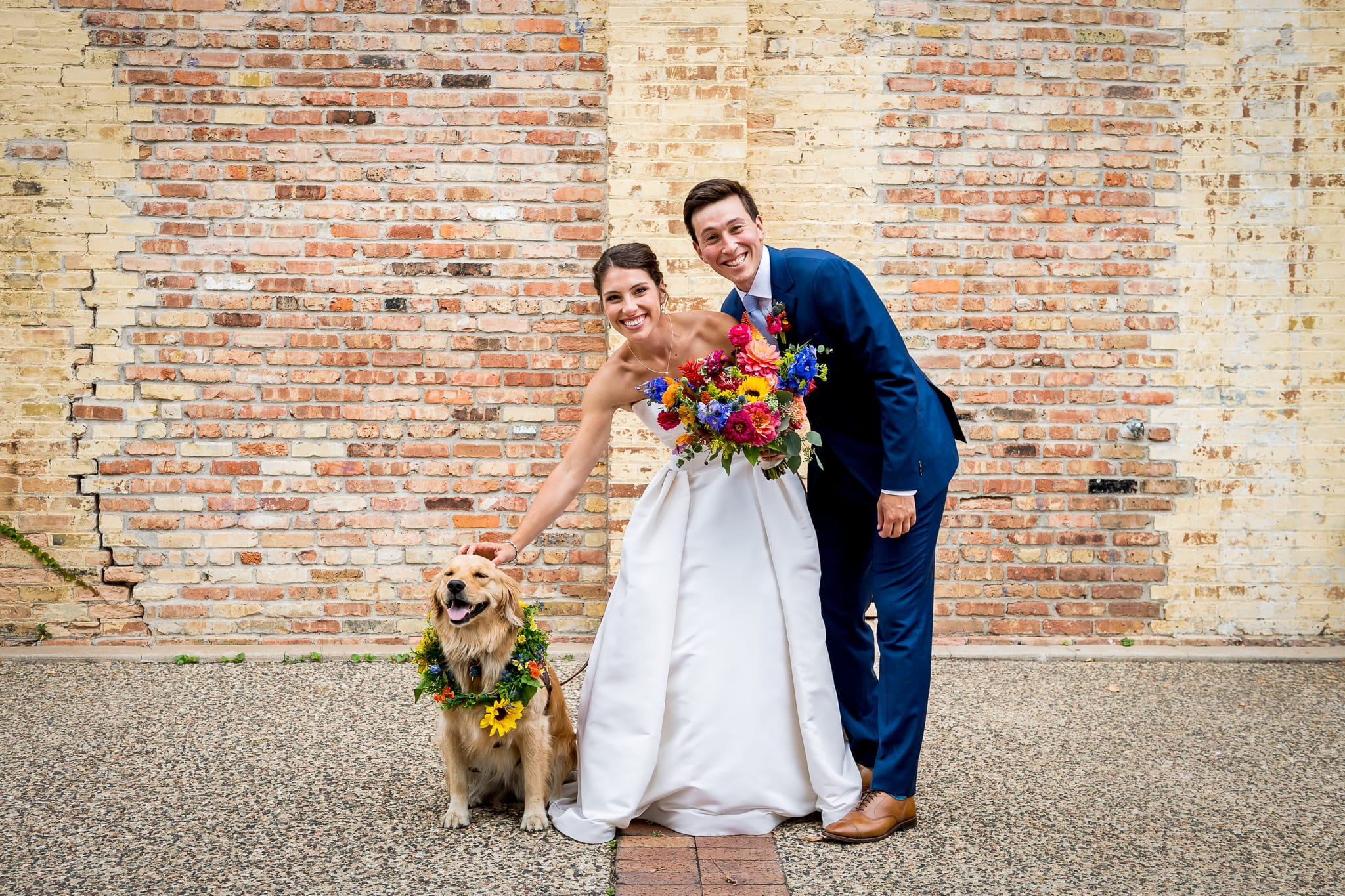 Bride, groom, and their golden retriever posing in front of the brick wall at the Nicollet Island Pavilion on their wedding day
