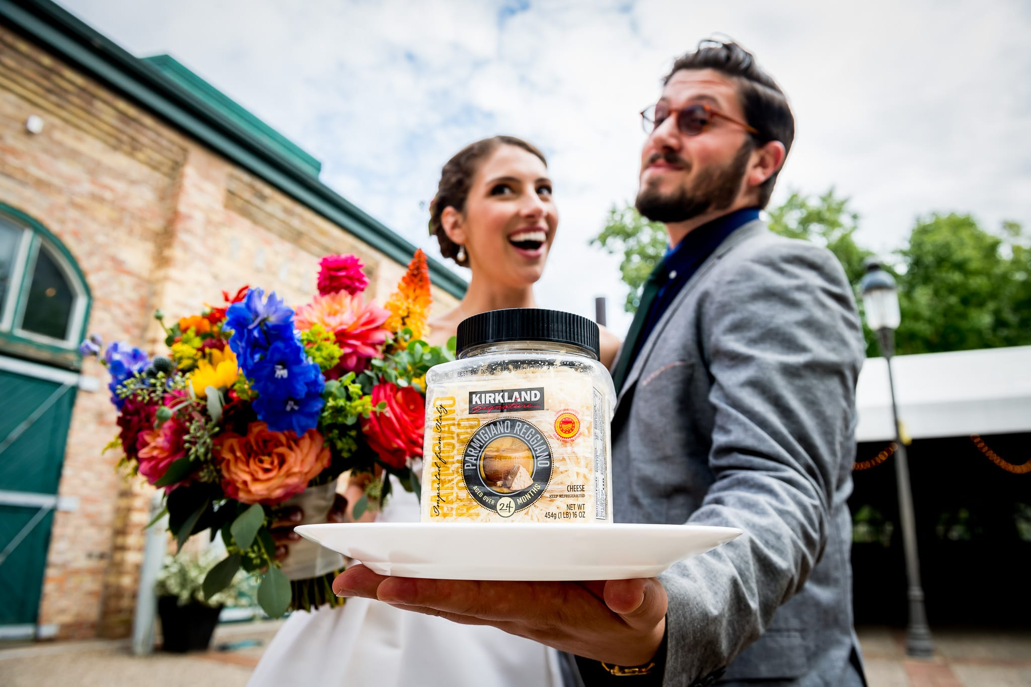 "Bride and her ""Parmesan Boy"" on her wedding day"