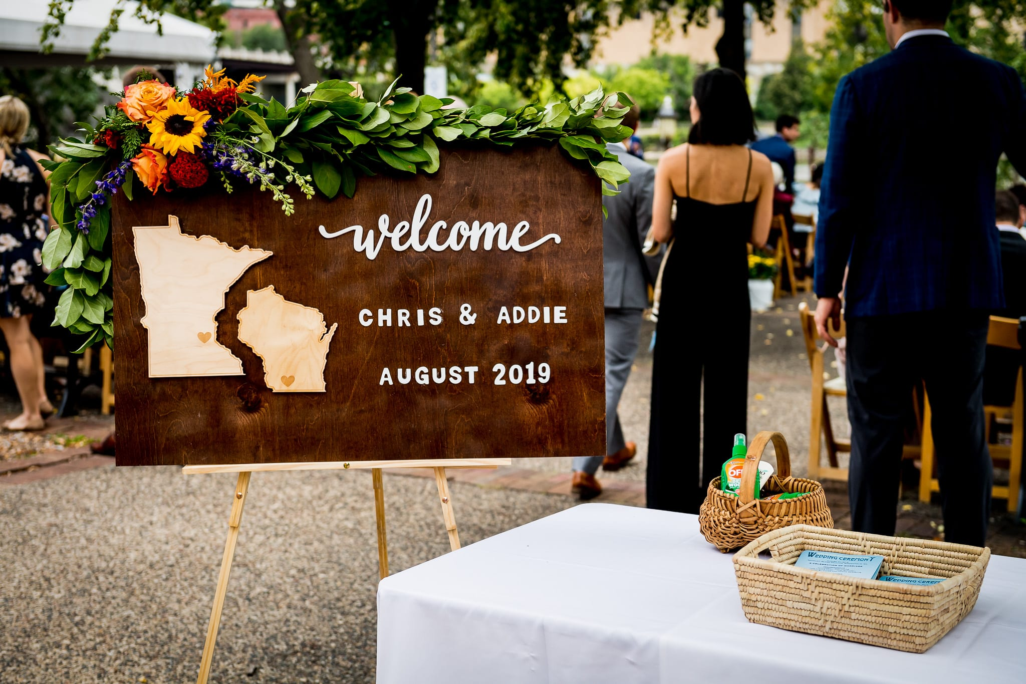 Welcome sign for an awesome summer Nicollet Island Pavilion wedding