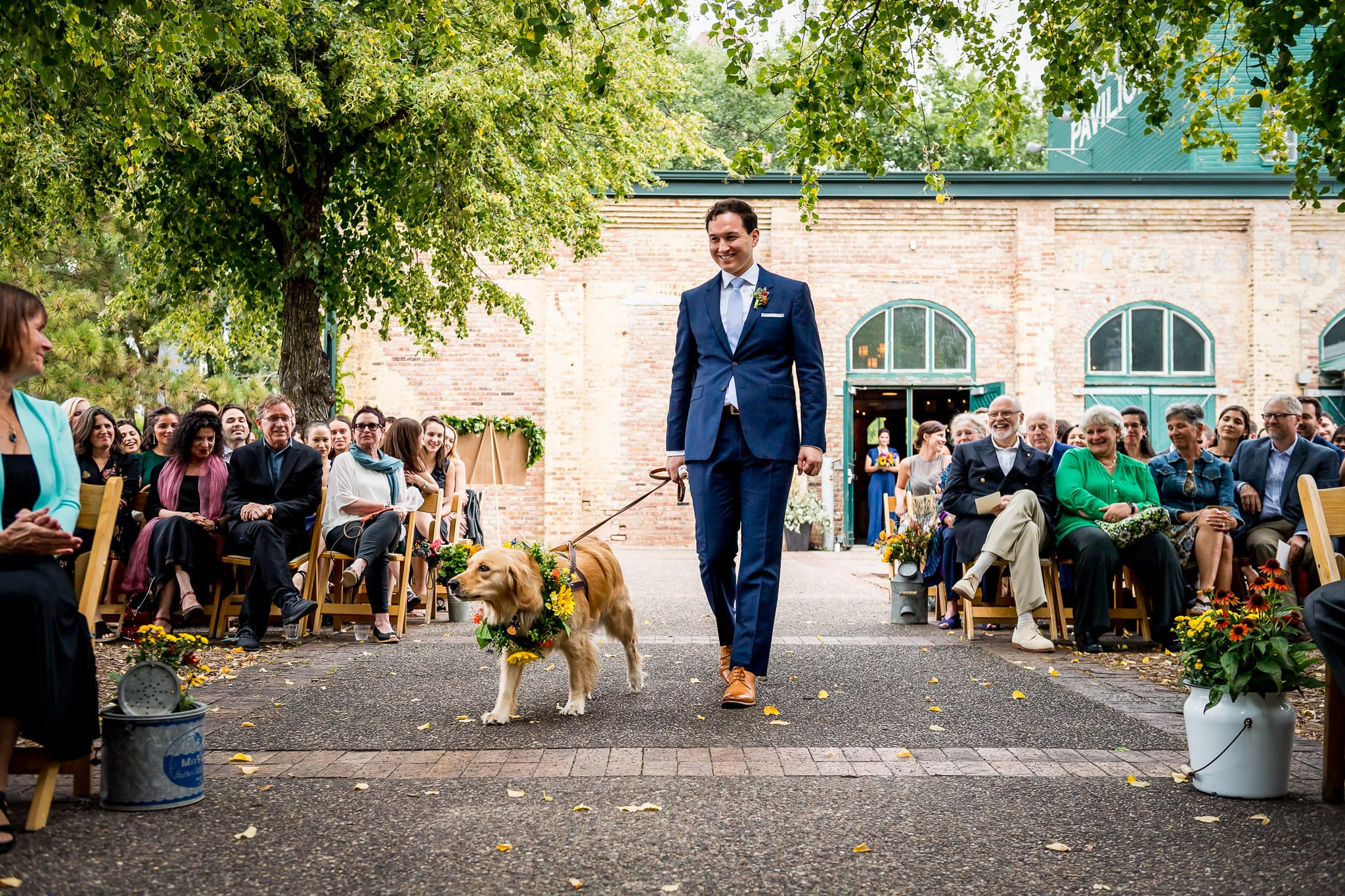 Best man walks the ringer bear, the couples golden retriever, down the isle for a Nicollet Island Pavilion wedding