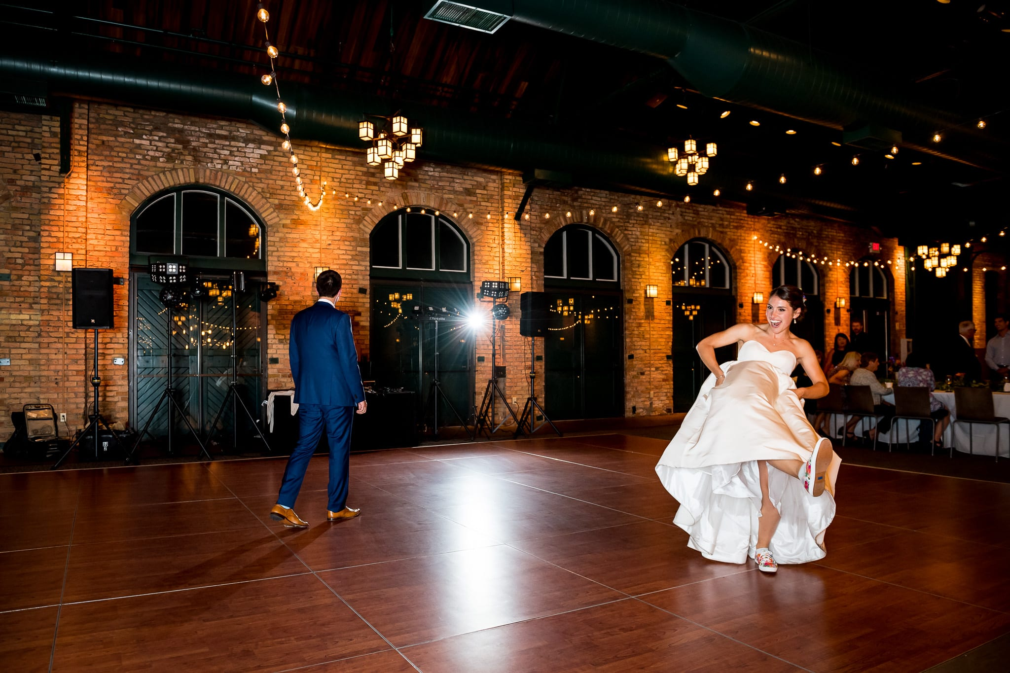 Bride and grooms first dance inside of the Nicollet Island Pavilion