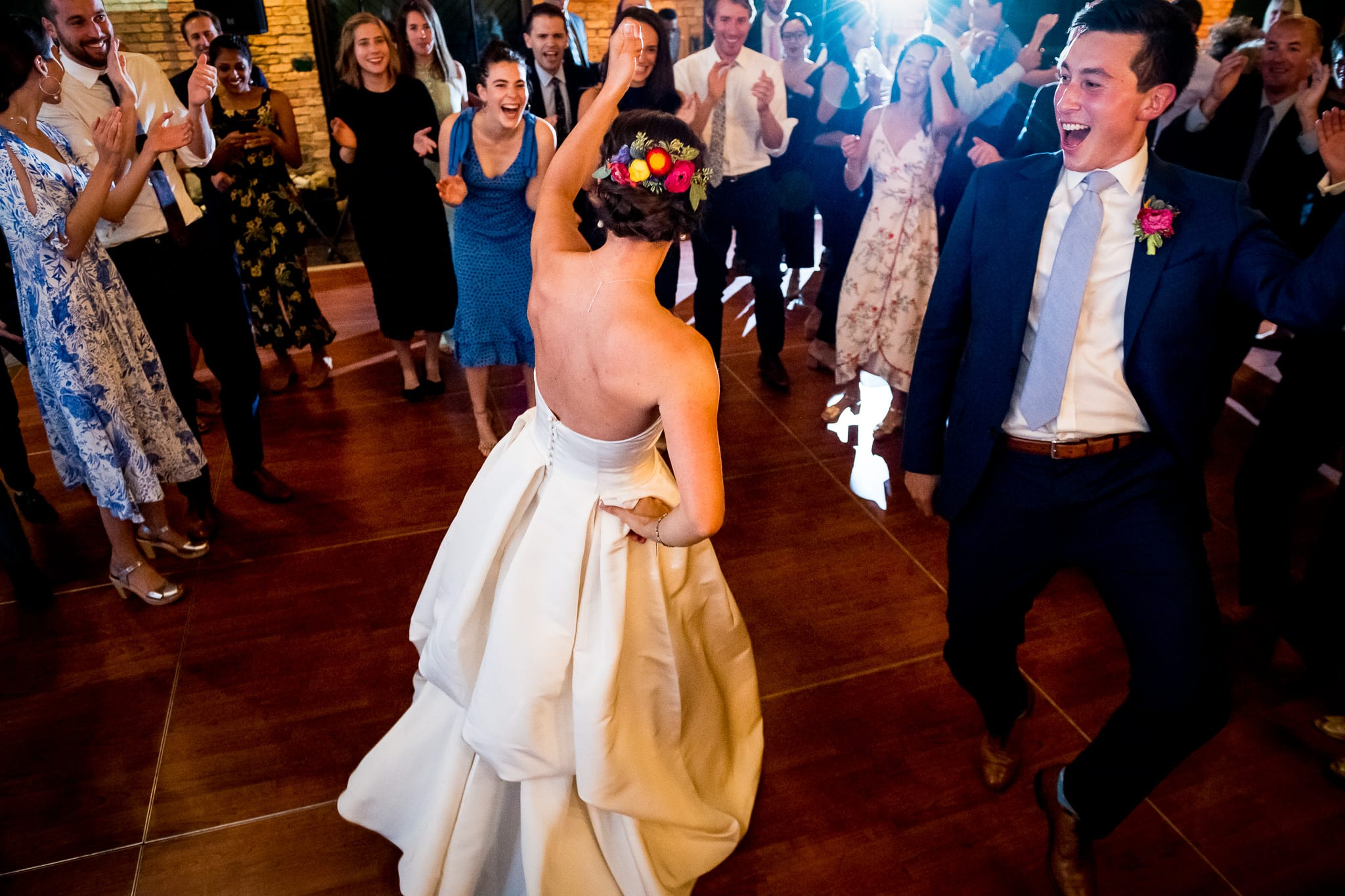 Bride and groom tear up the dance floor at their wedding