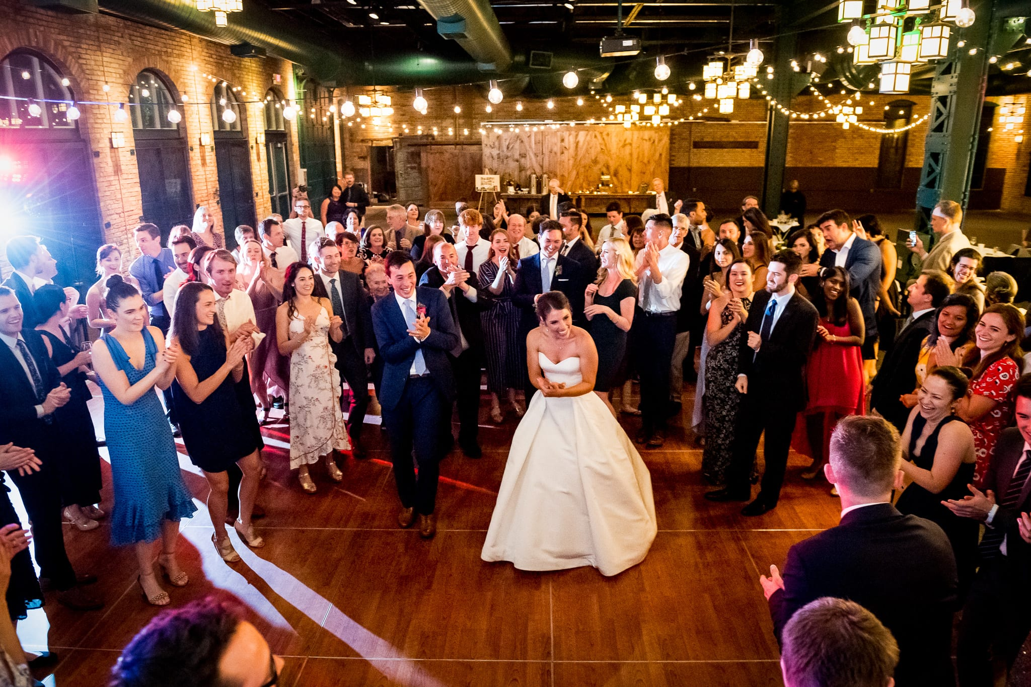 Wide view of the full dance floor during a Nicollet Island Pavilion Wedding