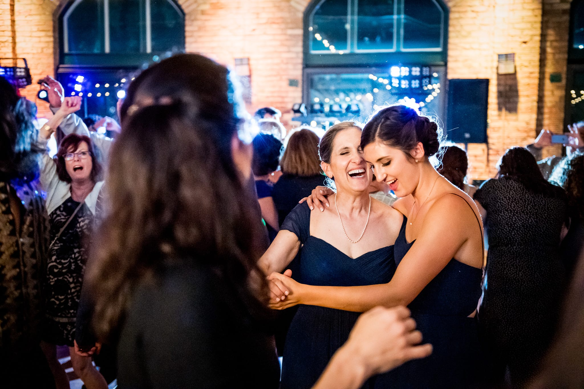 Mother and daughter dance during the wedding